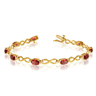 14K Yellow Gold Oval Garnet Stones And Diamonds Infinity Tennis Bracelet, 7""