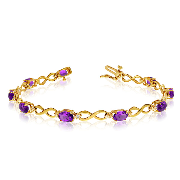 14K Yellow Gold Oval Amethyst Stones And Diamonds Infinity Tennis Bracelet, 7""