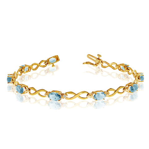 14K Yellow Gold Oval Aquamarine Stones And Diamonds Infinity Tennis Bracelet, 7""