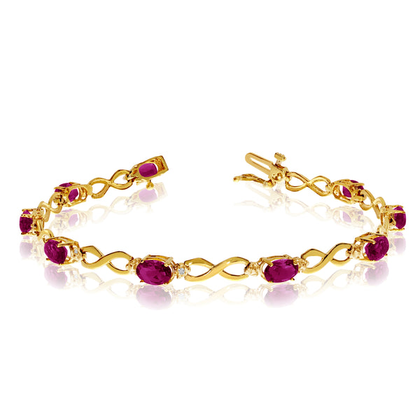 14K Yellow Gold Oval Ruby Stones And Diamonds Infinity Tennis Bracelet, 7""