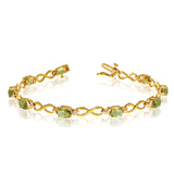 14K Yellow Gold Oval Peridot Stones And Diamonds Infinity Tennis Bracelet, 7""