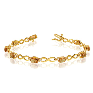 14K Yellow Gold Oval Citrine Stones And Diamonds Infinity Tennis Bracelet, 7""