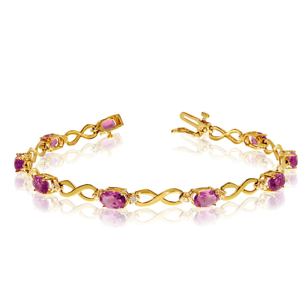14K Yellow Gold Oval Pink Topaz Stones And Diamonds Infinity Tennis Bracelet, 7""