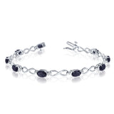 14K White Gold Oval Sapphire Stones And Diamonds Infinity Tennis Bracelet, 7""