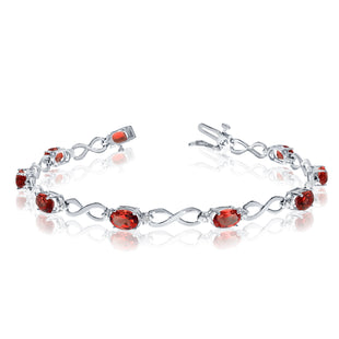 14K White Gold Oval Garnet Stones And Diamonds Infinity Tennis Bracelet, 7""