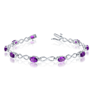 14K White Gold Oval Amethyst Stones And Diamonds Infinity Tennis Bracelet, 7""