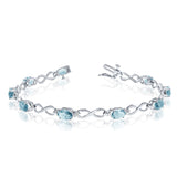 14K White Gold Oval Aquamarine Stones And Diamonds Infinity Tennis Bracelet, 7""