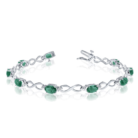 14K White Gold Oval Emerald Stones And Diamonds Infinity Tennis Bracelet, 7""