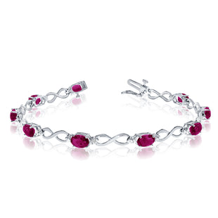 14K White Gold Oval Ruby Stones And Diamonds Infinity Tennis Bracelet, 7""