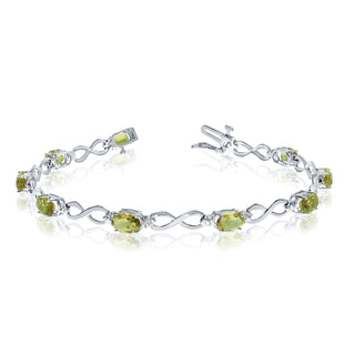 14K White Gold Oval Peridot Stones And Diamonds Infinity Tennis Bracelet, 7""