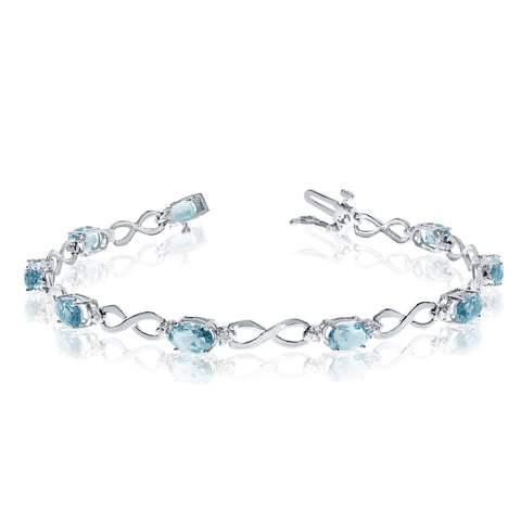 10K White Gold Oval Aquamarine Stones And Diamonds Infinity Tennis Bracelet, 7""