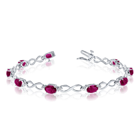 10K White Gold Oval Ruby Stones And Diamonds Infinity Tennis Bracelet, 7""