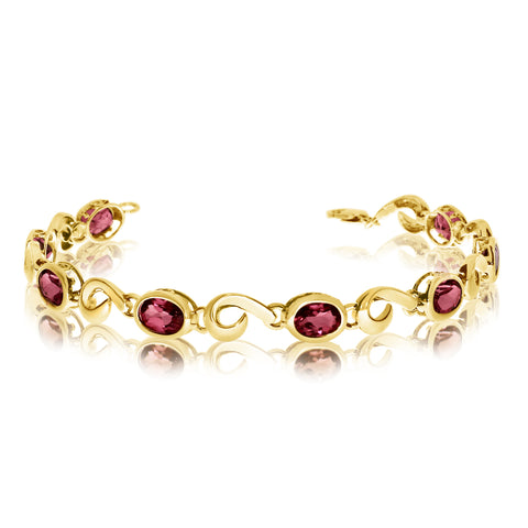 14K Yellow Gold Oval Garnet Stone Tennis Bracelet, 7""