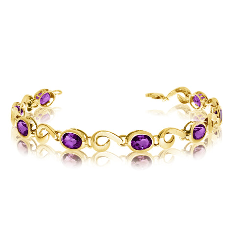 14K Yellow Gold Oval Amethyst Stone Tennis Bracelet, 7""