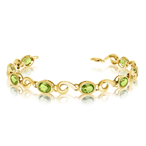 14K Yellow Gold Oval Peridot Stone Tennis Bracelet, 7""