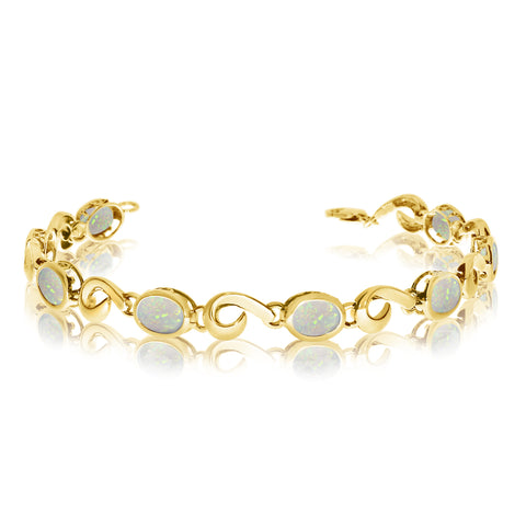 14K Yellow Gold Oval Opal Stone Tennis Bracelet, 7""