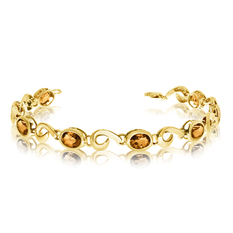 14K Yellow Gold Oval Citrine Stone Tennis Bracelet, 7""