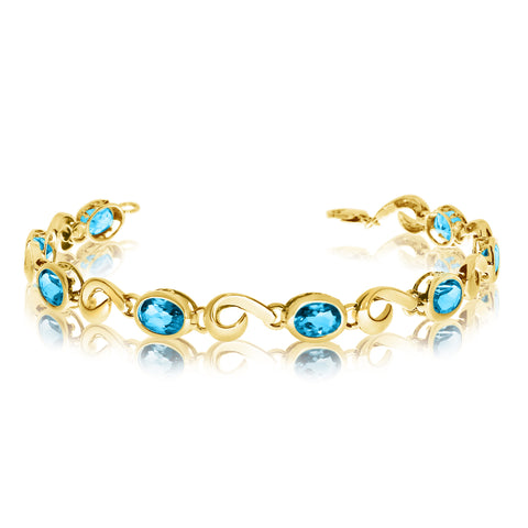 14K Yellow Gold Oval Blue Topaz Stone Tennis Bracelet, 7""