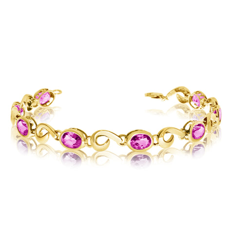 14K Yellow Gold Oval Pink Topaz Stone Tennis Bracelet, 7""