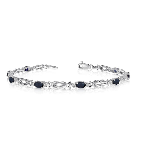 14K White Gold Oval Sapphire Stones And Diamonds Tennis Bracelet, 7""