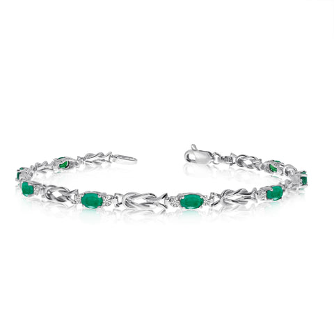 14K White Gold Oval Emerald Stones And Diamonds Tennis Bracelet, 7""