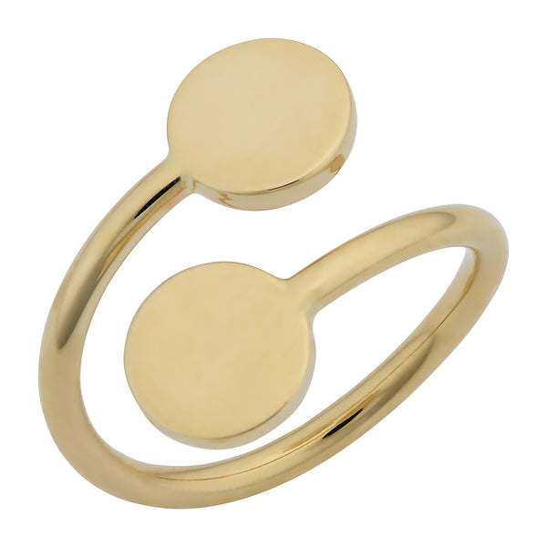 14k Yellow Gold Double Disc Bypass Ring