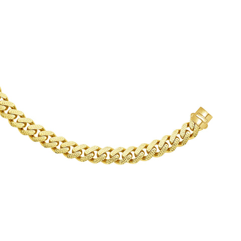 14k Yellow Gold Miami Cuban Link Pave Chain Necklace, Width 13.5mm, 24""