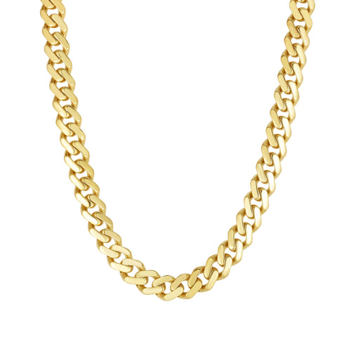 14k Yellow Gold Miami Cuban Link Chain Necklace, Width 9.5mm, 22""