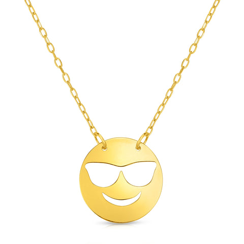 "14k Yellow Gold Happy Cool Face with Shades Emoji Extentable Necklace, 16"" to 18"""