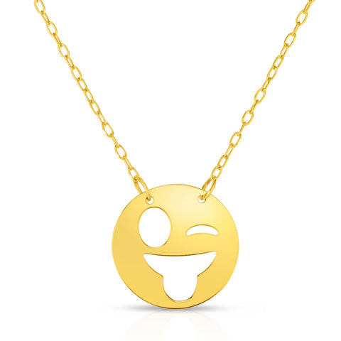 "14k Yellow Gold Winking Sticking Tongue Out Emoji Extentable Necklace, 16"" to 18"""