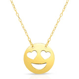 "14k Yellow Gold Heart Shaped Eyes Emoji Extentable Necklace, 16"" to 18"""