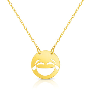 "14k Yellow Gold Laughter With Tears Emoji Extentable Necklace, 16"" to 18"""