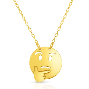 "14k Yellow Gold Not Sure Emoji Extentable Necklace, 16"" to 18"""