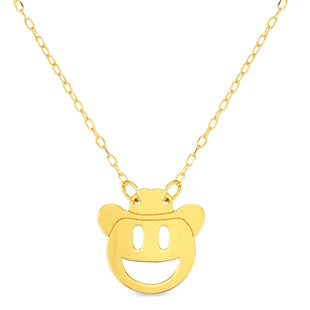 "14k Yellow Gold Happy Cowboy Emoji Extentable Necklace, 16"" to 18"""