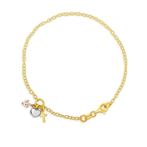 14k Yellow Gold Chain Heart Lock And Anchor Bracelet, 7.5""
