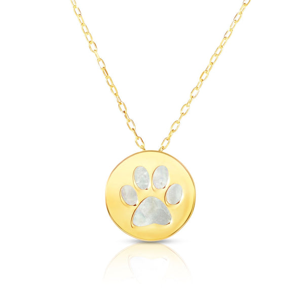 14K Yellow Gold Mother Of Pearl Dog Paw Pendant Necklace, 16""