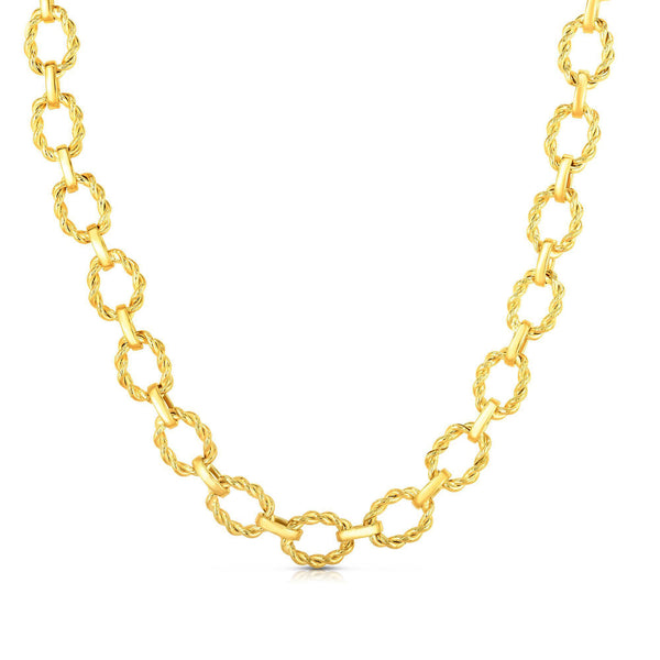 14k Yellow Gold Oval Textured Link Chain Womens Necklace, 18""