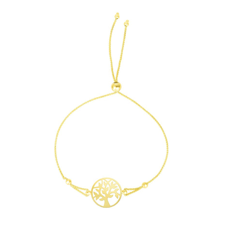 14k Yellow Gold Adjustable Tree Of Life Charm Bolo Bracelet, 9.25""