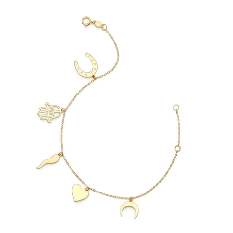 14k Yellow Gold Hamsa Heart Moon Charm Bracelet, 7""