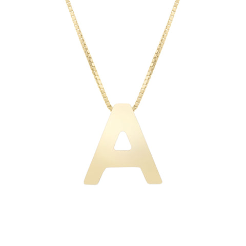 14k Yellow Gold Initial Letter Pendant Necklace, 18""