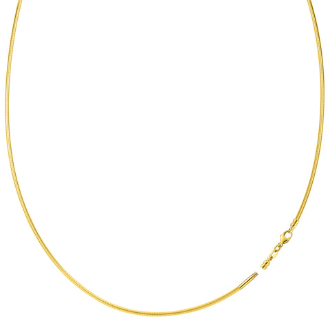 Round Omega Chain Necklace With Screw Off Lock In 14k Yellow Gold, 1.5mm - JewelryAffairs  - 1
