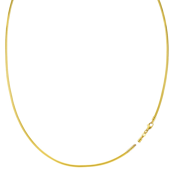 Round Omega Chain Necklace With Screw Off Lock In 14k Yellow Gold, Width 1mm