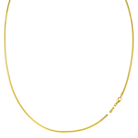 Round Omega Chain Necklace With Screw Off Lock In 14k Yellow Gold - Width 1mm - JewelryAffairs  - 1