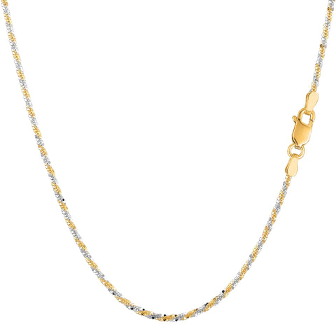 14k 2 Tone Yellow & White Gold Sparkle Chain Necklace, 1.5mm - JewelryAffairs  - 1