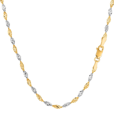 14k 2 Tone Yellow And White Gold Singapore Chain Necklace, 2.0mm