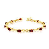 14K Yellow Gold Oval Garnet Stones And Diamonds Tennis Bracelet, 7""