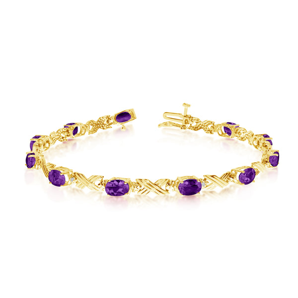 14K Yellow Gold Oval Amethyst Stones And Diamonds Tennis Bracelet, 7""