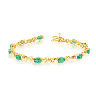 14K Yellow Gold Oval Emerald Stones And Diamonds Tennis Bracelet, 7""
