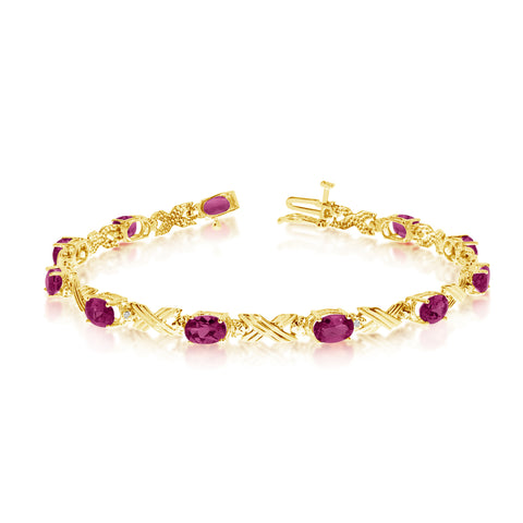 14K Yellow Gold Oval Ruby Stones And Diamonds Tennis Bracelet, 7""