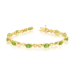 14K Yellow Gold Oval Peridot Stones And Diamonds Tennis Bracelet, 7""